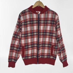 Vintage I'ma Plum Zip Sweater Cardigan Red Plaid